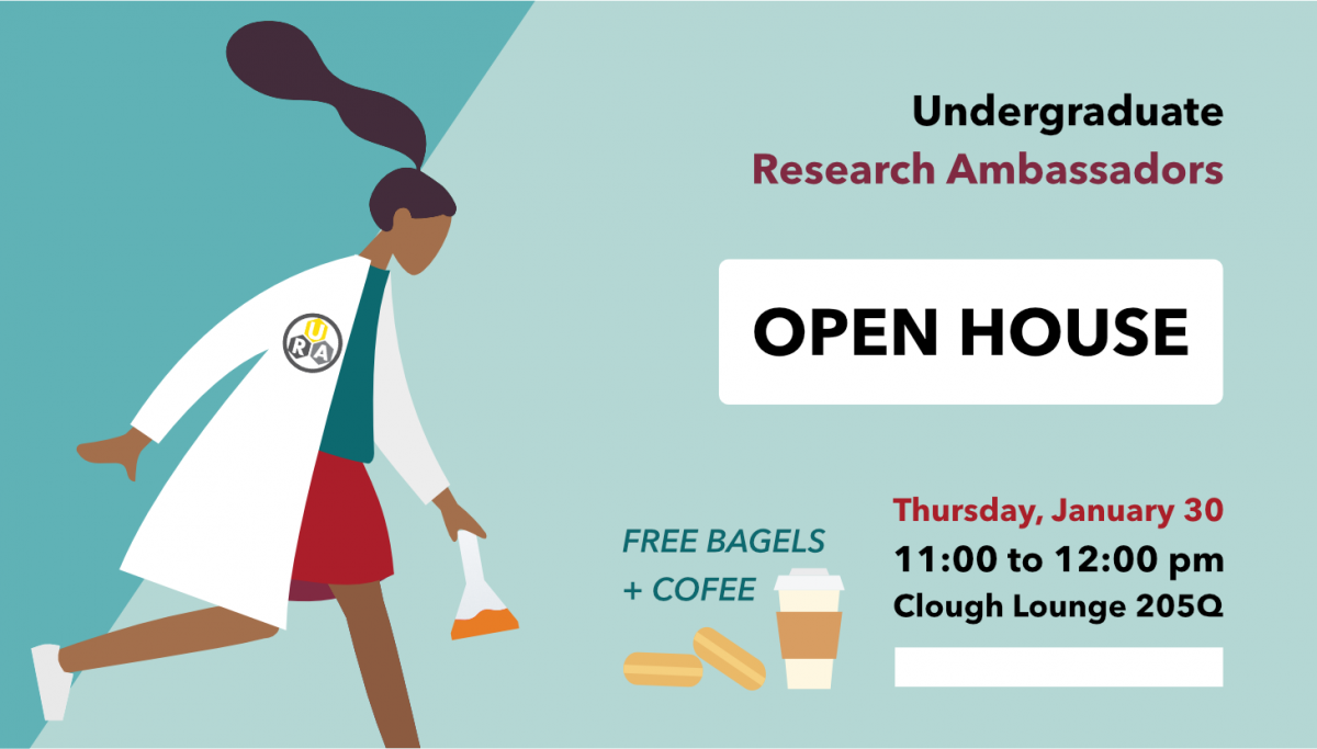 Advertisement for Research Open House 1/30/2020, with free coffee and bagels and a woman holding an erlenmeyer flask
