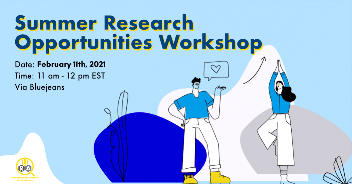 Summer Research Opportunities Workshop Flyer for February 11th, 2021