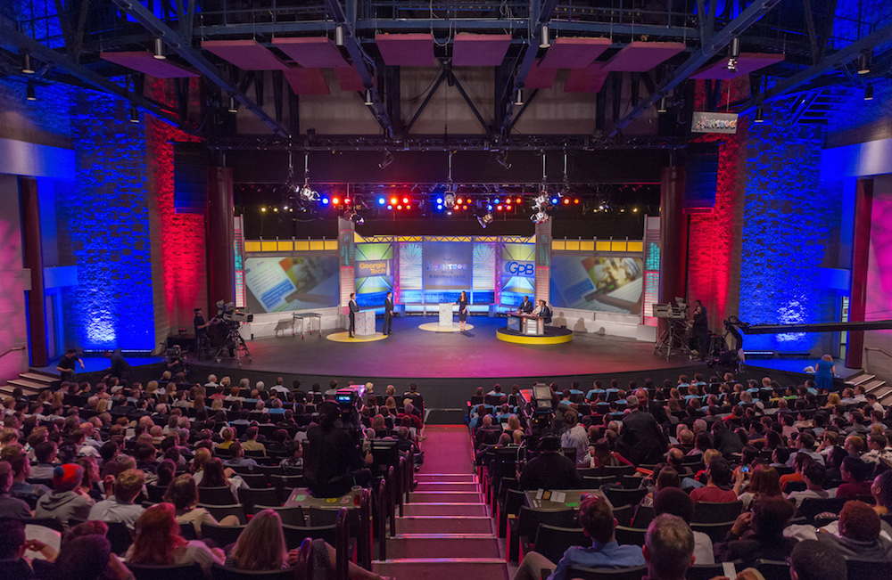 The audience and stage at the 2015 InVenture Prize finals.