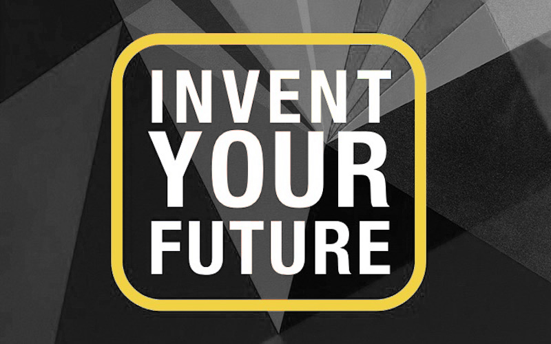"""Invent Your Future"" slide with geometric background."